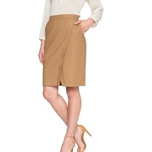 Tan Banana Republic Wrap Pencil Skirt
